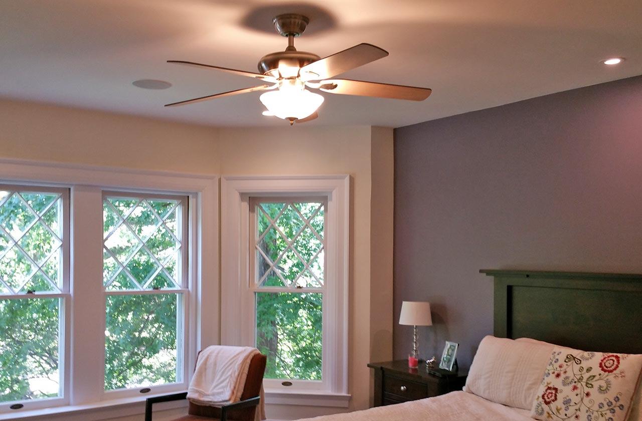 bedroom lighting, ceiling fan